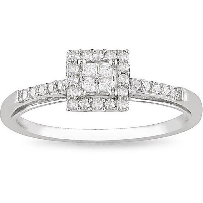 10k White Gold 1/5ct TDW Diamond Halo Ring