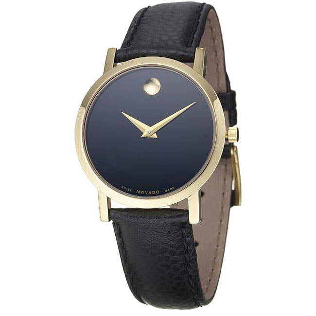 Movado Women's Museum Goldplated Steel Case Black Leather Strap Watch