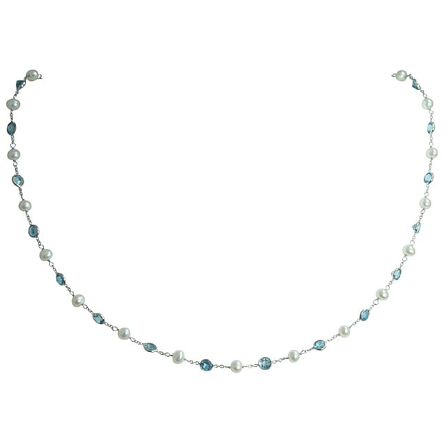 Gioelli 14k White Gold Blue Topaz and White Freshwater Pearl Necklace (3.4 mm)