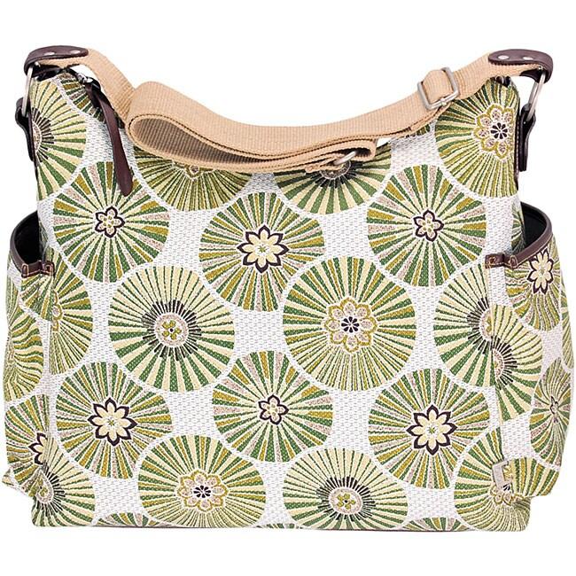 OiOi Green Floral Disc Hobo Diaper Bag