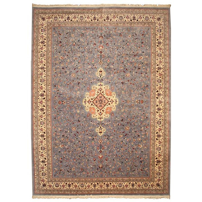 Hand-knotted Sino Persian Blue New Zealand Wool Tabriz Rug (12' x 15')