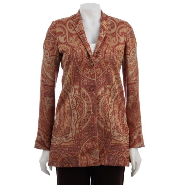 Maharani Women's Long-sleeved Orange Silk Jacket (India)