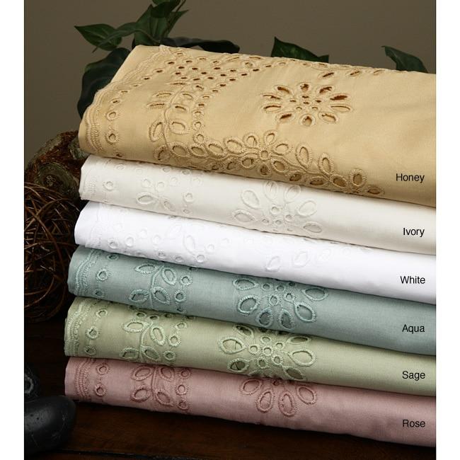 Eyelet Cotton 400 Thread Count Sheet Set