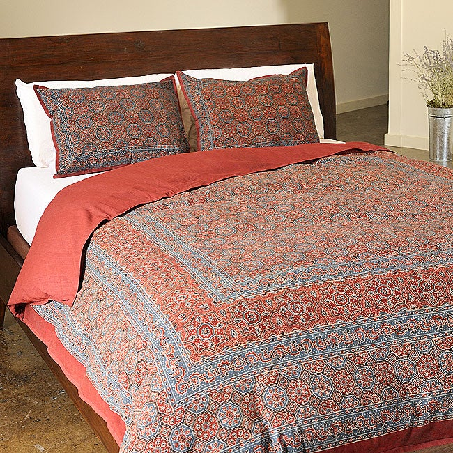 Red Kalamkari Cotton 3-piece Duvet Cover Set (India)