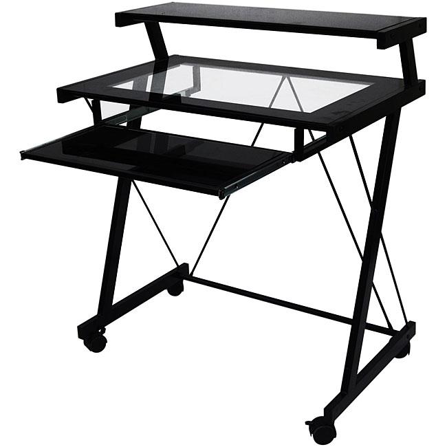 Black Glass-top Computer Cart