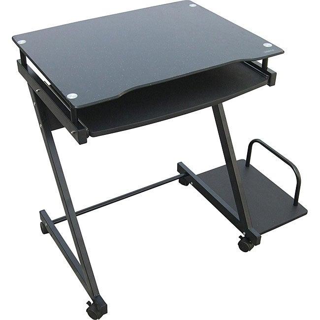 Black Glass Computer Cart