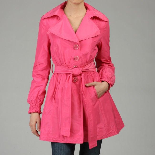ABS by Allen Schwartz Women's Pink Cinched Waist Trench Coat