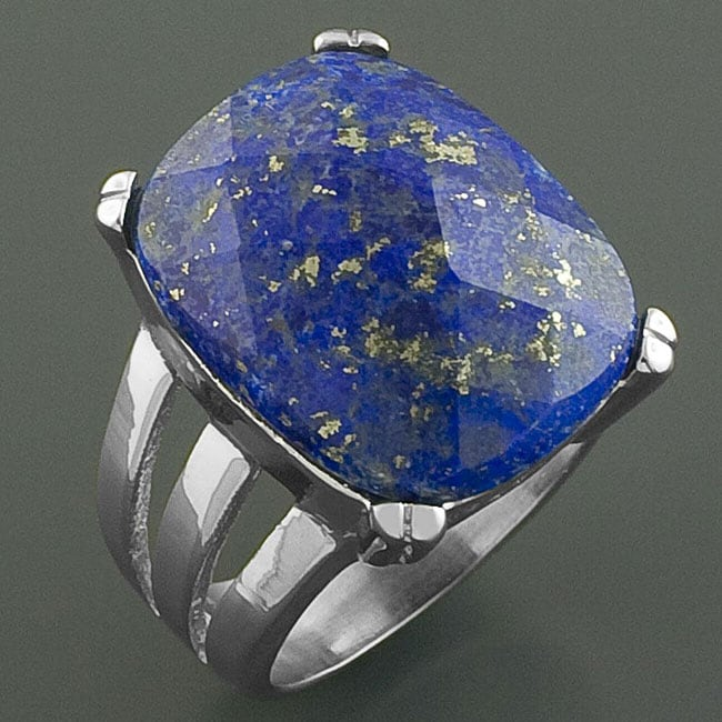 Handcrafted Stainless Steel Bold-faceted Lapis Lazuli Ring (China)