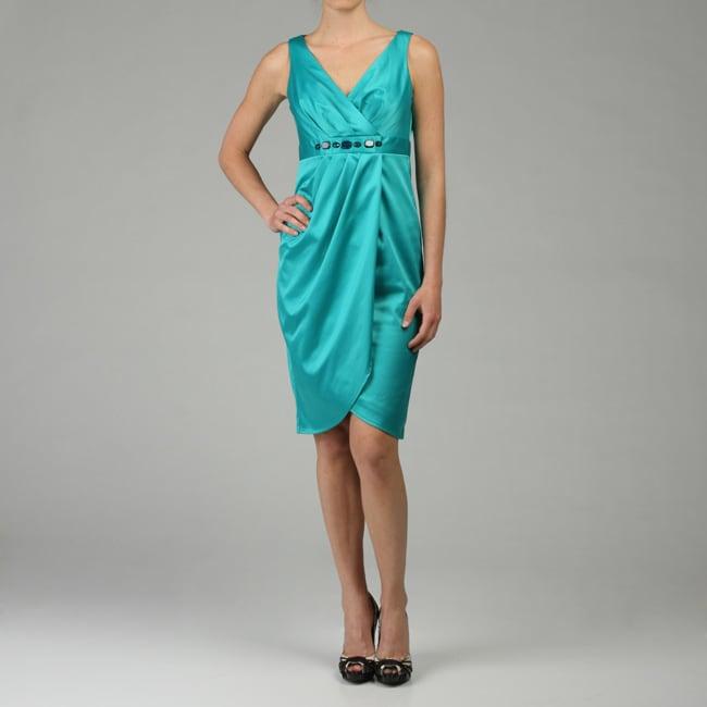 Evan Picone Women's Tulip Stretch Satin Sheath Dress