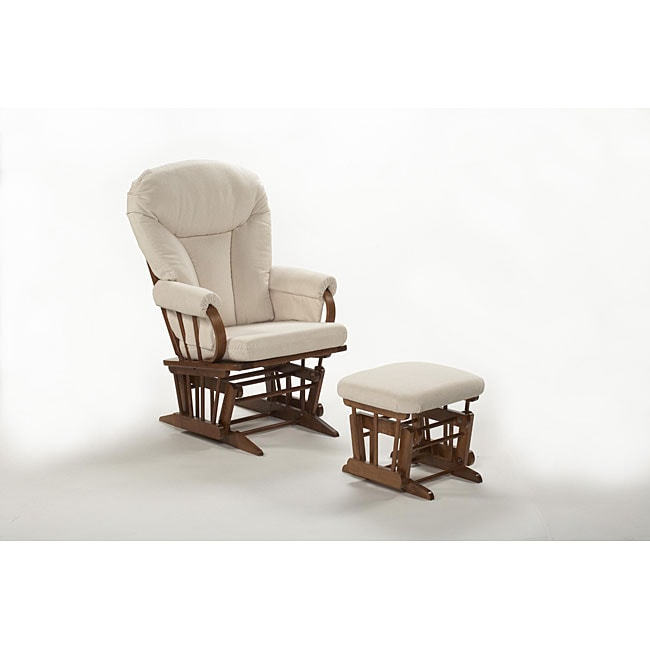 Hardwood and Off White Bow-back Glider Rocker