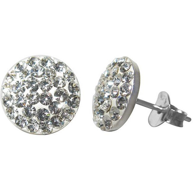 95a7aba18 Shop Sterling Silver Clear Crystal Flat Round Stud Earrings - Free Shipping  On Orders Over $45 - Overstock - 4712277