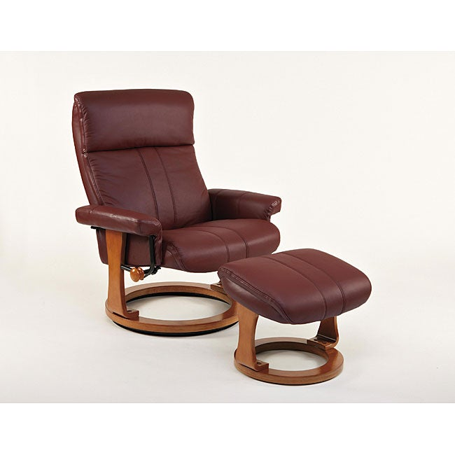 Superieur Burgundy Stockholm European Classic Recliner Chair And Ottoman Set