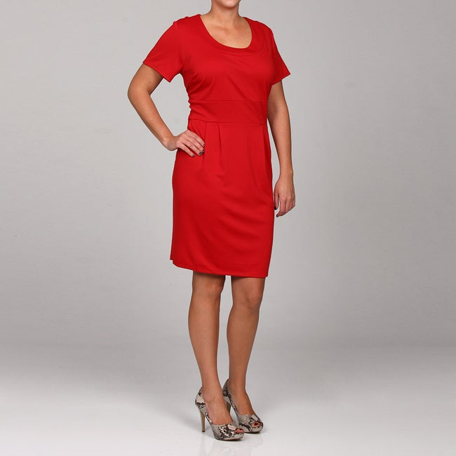 Shop Tiana B Womens Plus Size Red Ponte Knit Dress Free Shipping