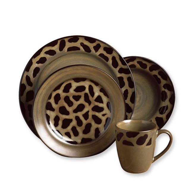 Joseph Abboud Cheetah 16 Piece Dinnerware Set Free
