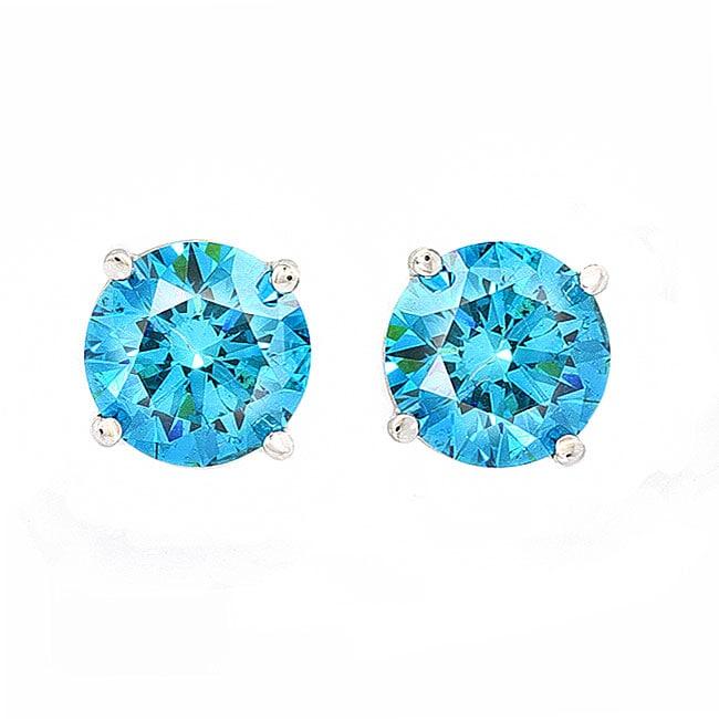 14k White Gold 2ct TDW Blue Diamond Stud Earrings