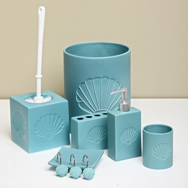 Embossed shell 7 piece bathroom accessory set free for Bathroom accessories sets on sale