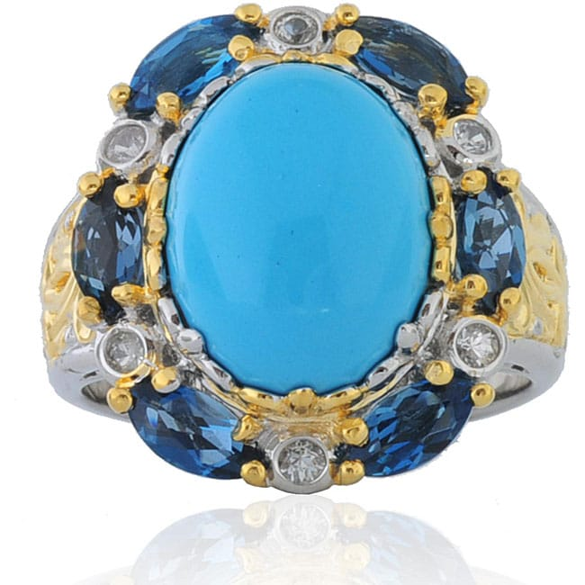 Michael Valitutti Sterling Silver Two-tone Turquoise/ Blue Topaz Ring