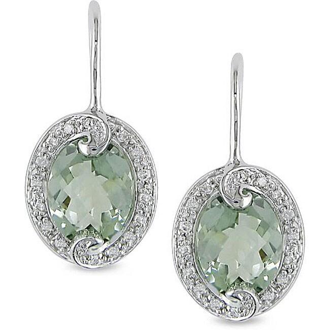 10k Gold Green Amethyst and 1/8ct TDW Diamond Earrings (H-I, I2-I3)