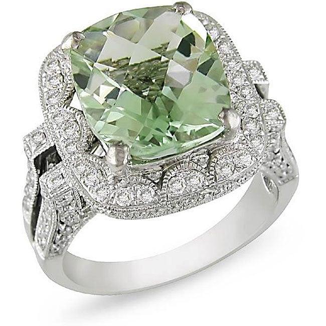 18k Gold Green Amethyst and 1ct TDW Diamond Ring (G-H, SI1)