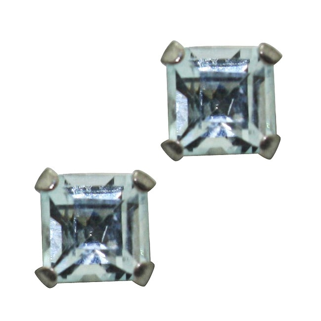 Gioelli 10k White Gold Square-cut Aquamarine Stud Earrings