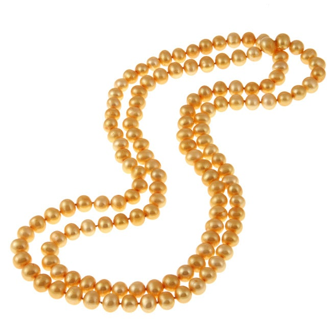 Gold Freshwater Pearl 48-inch Necklace (9-10 mm)