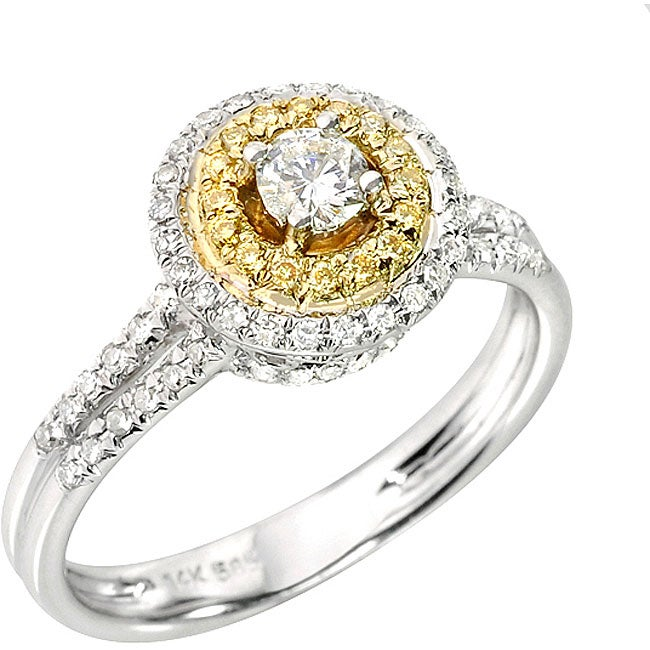 14k Two-tone Gold 1/2ct TDW White and Yellow Diamond Halo Ring (H, SI1)