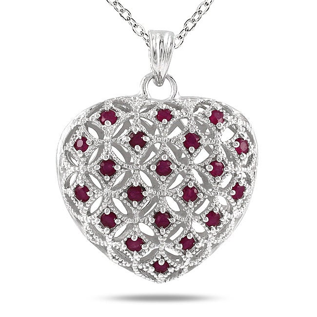 Marquee Jewels Sterling Silver Ruby Puff Heart Pendant