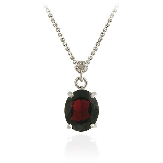 Glitzy Rocks Sterling Silver Garnet and Diamond Necklace