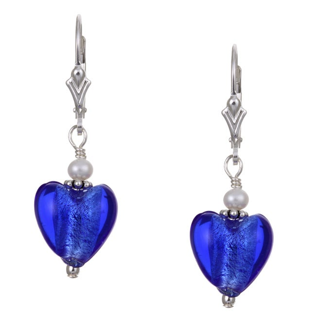 Charming Life Silver Cobalt Blue Heart and Pearl Earrings (3.5 mm)