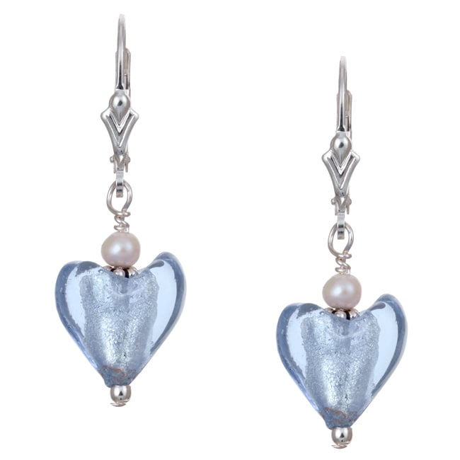 Lola's Jewelry Sterling Silver Periwinkle Blue Heart and Pearl Earrings (3.5 mm) - Thumbnail 0