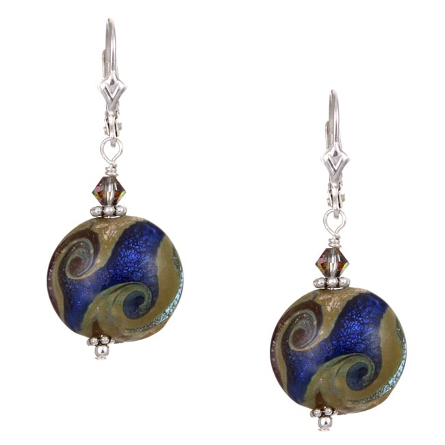 Lola's Jewelry Sterling Silver Starry Night Blue Art Glass Earrings