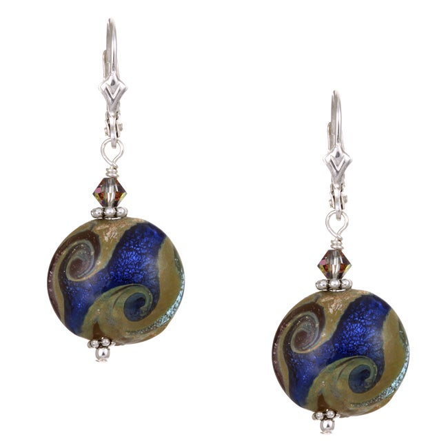 Charming Life Sterling Silver Starry Night Blue Art Glass Earrings