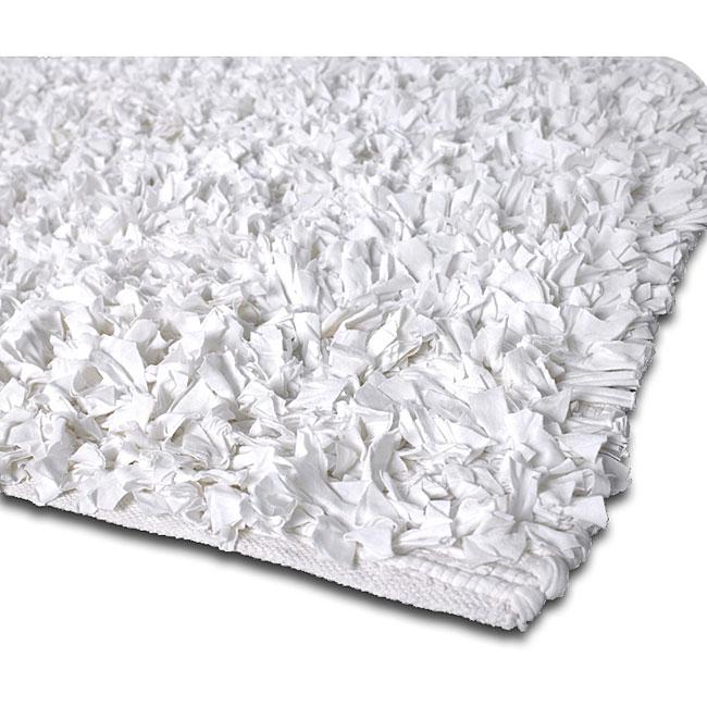 Handmade Jersey T Shirt Off White Cotton Shag Rug (3u0027 Round)