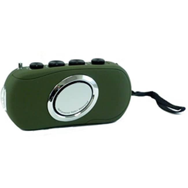 Waterproof Hand Powered Radio with LED Flashlight (Green)