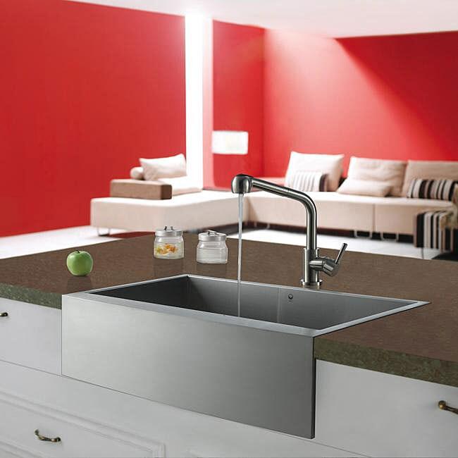VIGO Farmhouse Stainless Steel Kitchen Sink and Faucet