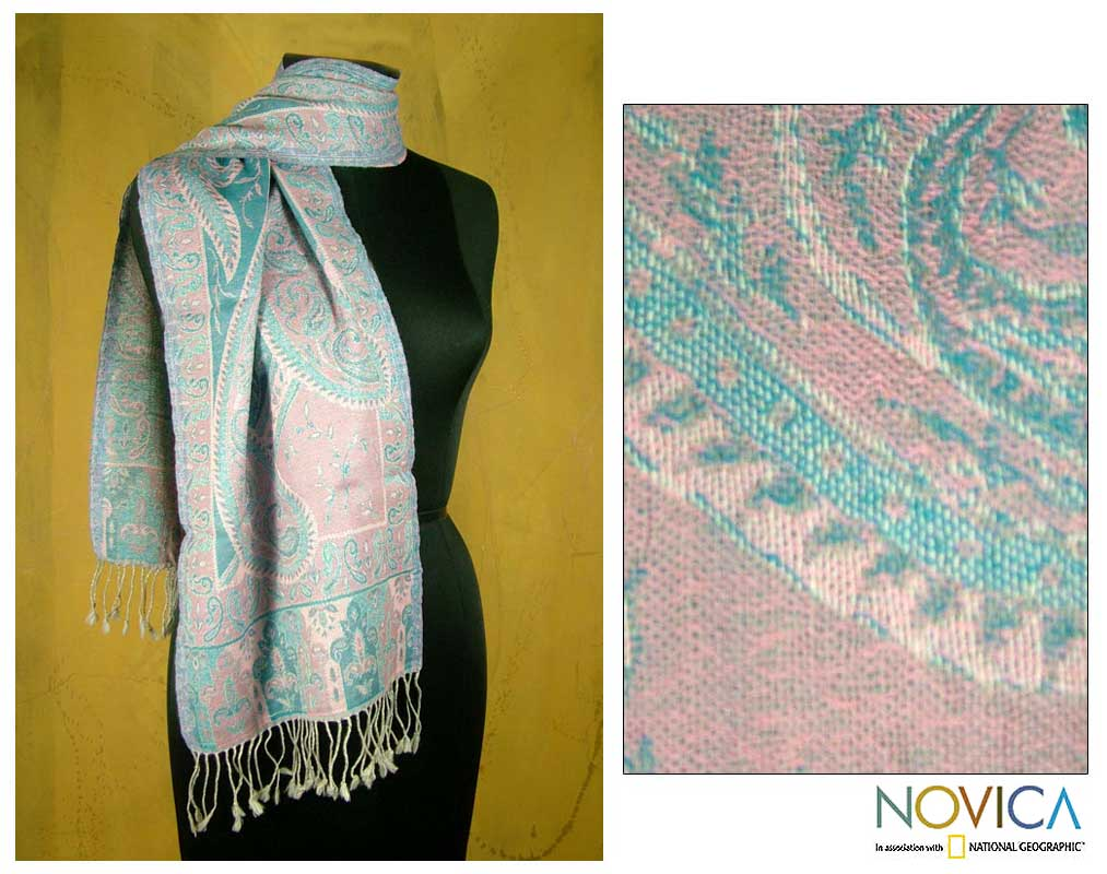 Hand woven Wool Rose Delight Shawl (India)