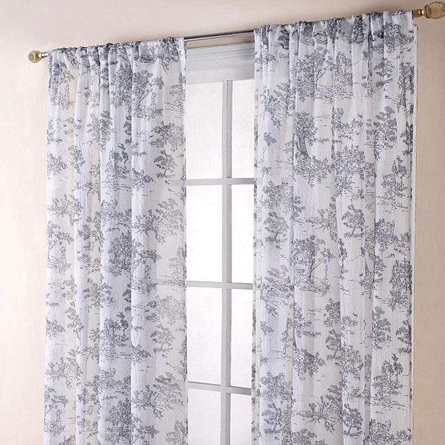 Toile Black And White 84 Inch Sheer Curtain Panel Pair