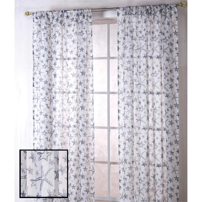 Starfish Sheer 84-inch Curtain Panel Pair