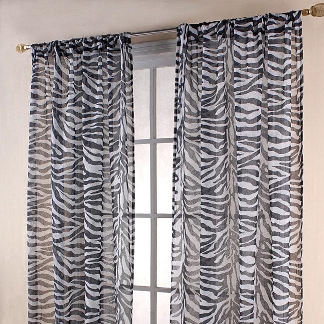 Zebra Print Black White Sheer 84 Inch Curtain Panels