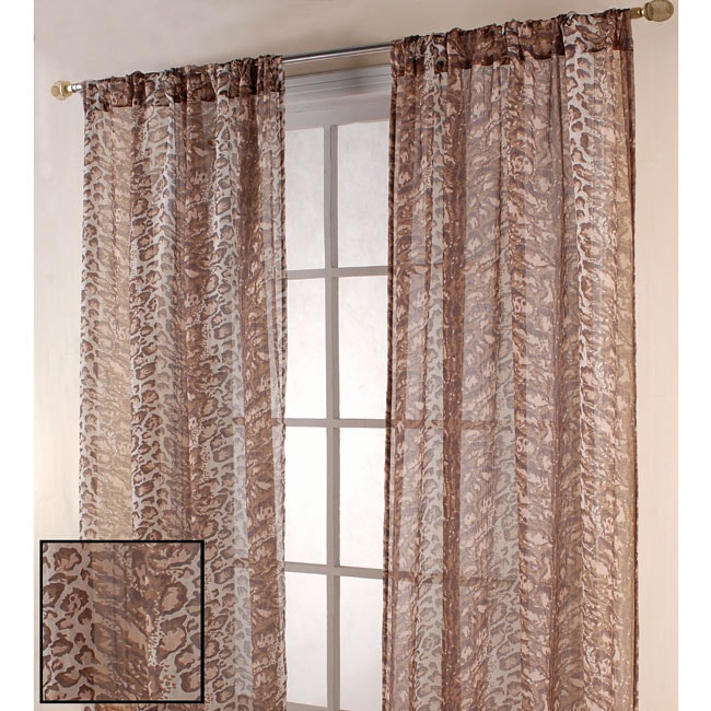 Leopard Print 84-inch Sheer Curtain Panel Pair