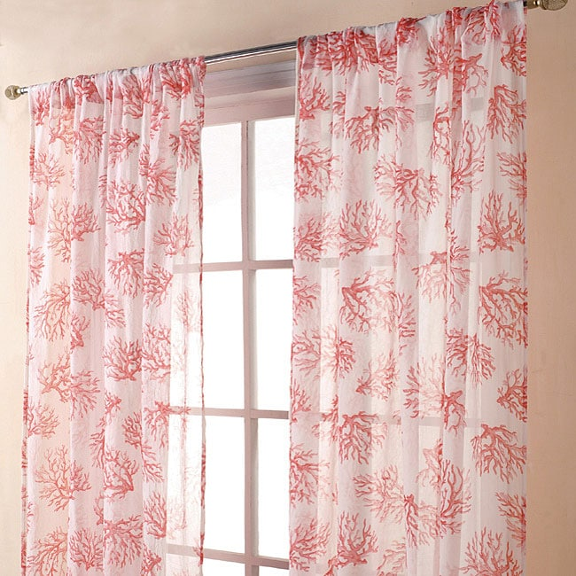 Coral Print Sheer Coral Spice 84 Inch Curtain Panel Pair