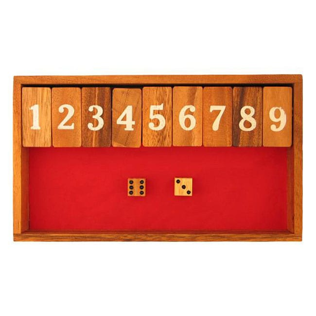 Handmade Wood Felt Shut the Box/ Canoga Game (Thailand)