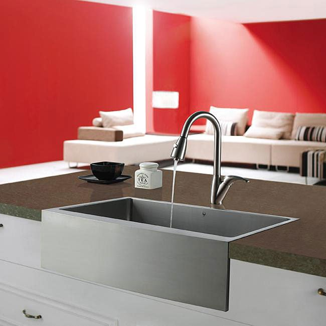 VIGO Farmhouse Stainless Steel Kitchen Sink and Faucet Combo