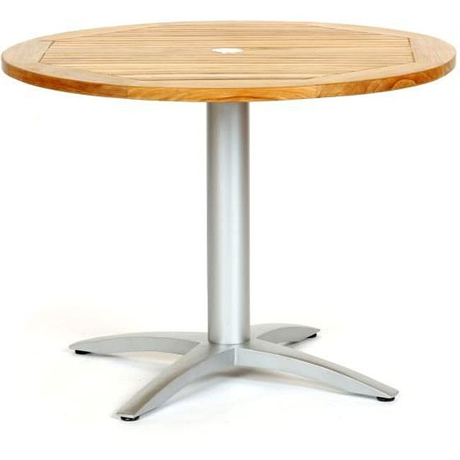 Infinity Teak Aluminum 40 Inch Round Dining Table Free Shipping Today 12647515