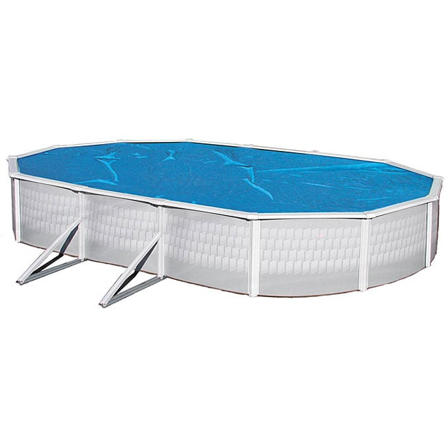 Swim Time 18 ft. x 44 ft. Oval 8-mil Solar Blanket for Above Ground Pools - Blue