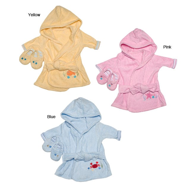 Baby Bath Robe and Slippers Set