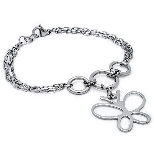 Oliveti Stainless Steel Butterfly Triple-link Bracelet