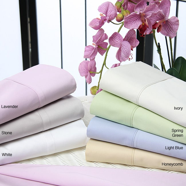 500 Thread Cotton Sateen Count 6-piece Queen/Full Ivory Sheet Set