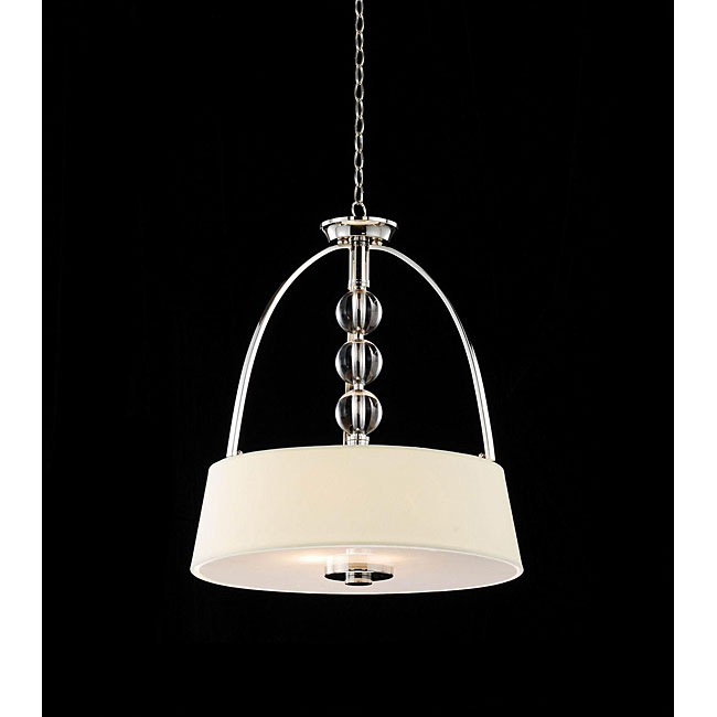 Beige Fabric Shade 3-light Crystal Chandelier