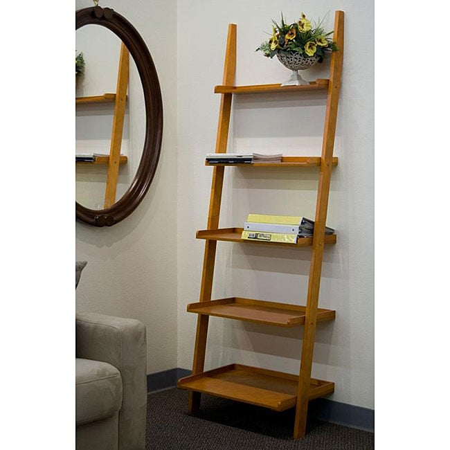 Oak 5-tier Leaning Ladder Book Shelf - Free Shipping Today - Overstock ...